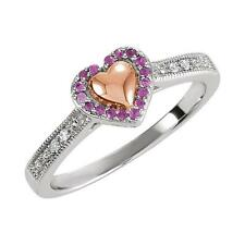 14K Rose Gold Plated Puffed Heart Ring Sterling Silver Pink Sapphire and Diamond
