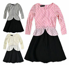 Girls Long Sleeved Peplum Dress New Girls Lace Top Party Dress Ages 3-12 Years
