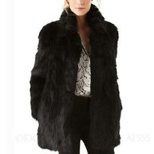 Elegant Mink Womens jacket Collared Cardigan Long sleeve Faux Fur Coat Size