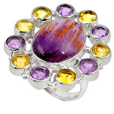 Natural purple cacoxenite super seven amethyst 925 silver ring size 8 j23761