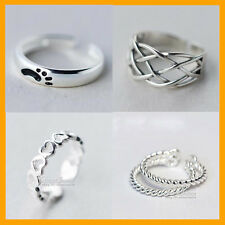 925 Solid Genuine Sterling Silver Adjustable Toe heart rope cuff footprint Ring