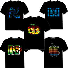 Halloween party Black Sound Activated Light Up& Down LED Light EL T-Shirt Flash