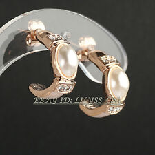 Fashion Rhinestone White Pearl Huggie Earrings 18KGP CZ Crystal