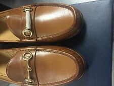 NEW WITH BOX COLE HAAN ASCOT II BRITISH TAN LEA. LOAFER W/ GOLD BIT