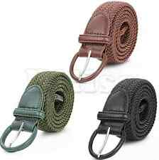 Men's Leather Knitted Braided Stretch Elastic Belt with Buckle