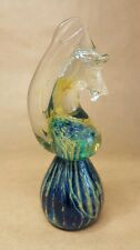 "Mdina Art Glass 6"" Seahorse Paperweight Green & Blue Swirl Signed Malta"
