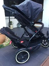 Phil & Teds Explorer Double Stroller Black and Grey with rain cover