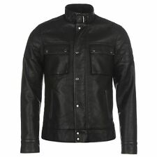 Firetrap Mens Gents Blackseal PU Biker Jacket Zipped and Button Front Overcoat