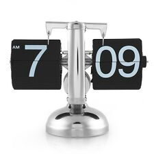 Retro Modern Metal Auto Flip Page Single Stand Desk Table Clock Home Decoration