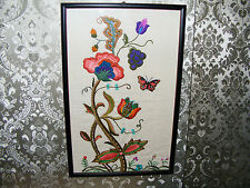 """Embroidered  Picture Of  Flowers  &  Butterfly  Framed  & Glazed  18.3/4"""" x 12"""""""