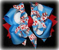 Dr. Seuss Blue Red Boutique Hair Bow Big Loops Spikes Funky Hairbows 5 6 inch