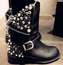 Womens Motorcycle Punk Studs Leather Riding Ankle Boot Biker Back Zip Shoes Plus