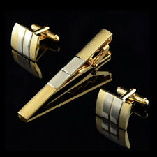 Men's Classical Stripe Gold Square Wedding Party Cufflinks Cuff Links&Tie Clip Q
