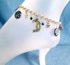 Moon Star Celestial Charms Silver or Gold Anklet Bracelet Jewelry Vintage Glass
