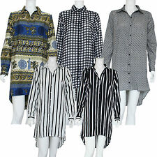 New Ladies Womens Buttoned Hi Lo Collared Strip Check Shirts Dress UK Size 10-20