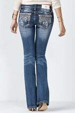 Miss Me Jeans Women's Crystal Fusion Aztec Pockets Medium Wash Boot Cut JP8600B3