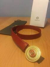 100% Authentic Versace Red Leather Belt Circle Brand New With Tags