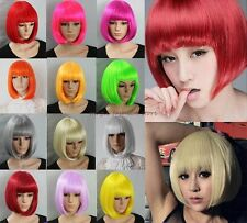 UK Short Straight BOB Wig Cosplay Costume Halloween Party Fancy Dress Real Thick