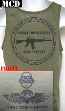 USMC FORCE RECON TANK TOP/ MCD/ OD / AFGHANISTAN COMBAT OPS T-SHIRT/  NEW