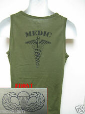 AIRBORNE od green TANK TOP T-SHIRT/ MEDIC/ combat/ / MILITARY/  NEW