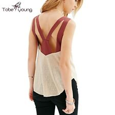 XS-XXL Womens Backless Sheer Vest Slim Tank Top Blouse Tee Shirt Casual Camisole