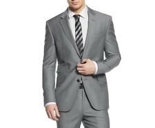 Kenneth Cole NEW Solid Slate Gray Mens US Size 38 Two Button Wool Blazer $172-