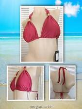 NWT VIX SWIMWEAR BIKINI TOP (ONLY) SMALL & LARGE CRANBERRY ROSE SILKY SATINY HAL
