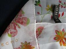"""FREE s&h!    ECHO SCARF retro Butterfly Floral 100% Silk oblong 52"""""""