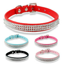 Full Rhinestone Puppy Dog Collars PU Leather Bling Diamante Studded Buckles