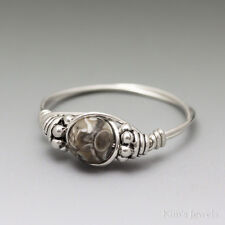 Turritella Fossil Agate Bali Sterling Silver Wire Wrapped Bead Ring