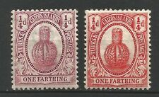 Turks & Caicos Is. 1909-11 MH/OG SG 115 116 KEVII 1/4d x 2 mint issues
