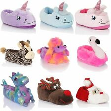 UNISEX LADIES MENS WOMENS 3D SLIPPERS ANIMAL PRINT AND FABRIC DOT SOLE SHOES***