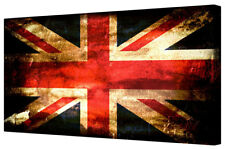 Retro Union Jack Flag LARGE New Bedroom Canvas Art Picture Wall Hanging Print