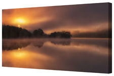 Forest Morning Sun LARGE Misty Lake Panorama Single Box Canvas Picture Print A1