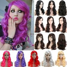 UK Wig Women Ladies Long Curly Straight Full Head Wigs Cosplay Party Fancy Dress