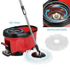 Rotating Spin Mop Bucket Set Pedal Drying 360°Stainless Steel W/ 2 MopHeads P1K5