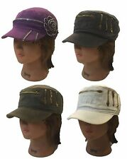 Cadet Army Military Fashion Castro  Stone Washed Hat Cap with Zipper Decoration