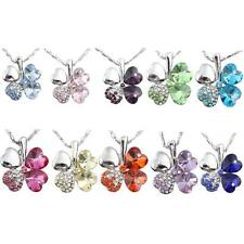 Lucky Exquisite Crystal Inlaied Four Leaf Clover Design Necklace Chain Pendant