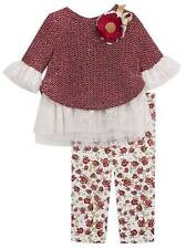 Rare Editions Burgandy Sweater and Knit Legging Set  2T/2 3T/3 4T/4