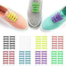 16PCS/Set Unisex Silicone Elastic Shoelaces No Tie Shoe Laces Fit All Sneakers