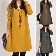 Womens Ladies A Shape Loose Plus Long Sleeve Autumn Pullover Dress Size S~XXL