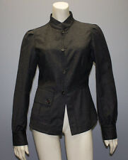 PRADA # Charcoal Gray 100% WOOL BUTTON FRONT LONG SLEEVE JACKET Sz S HS1959
