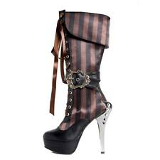 NIB Hades ETHEREAL Black Victorian Steampunk Brown Striped Satin Lace Up Boots