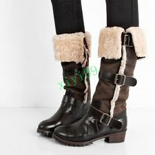 Retro Western Womens Cowboy Belt Buckle Block Cuffed Fur Pull On Mid Calf Boots