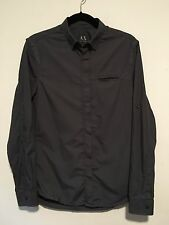 AX Armani Exchange Steel Gray Blue Button Down, Sleeve Roll-up Small, pre-owned