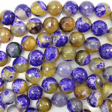 "Faceted Purple Crab Fire Agate Round Beads 15"" Strand 4mm 6mm 8mm 10mm 12mm"