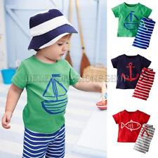 2PCS Toddler Kids Baby Boys Short Sleeve T-shirt + Shorts Pants Sets Clothes New