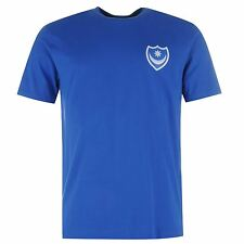 Portsmouth FC Pompey Small Crest T-Shirt Mens Blue Football Soccer Club