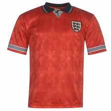 England 1990 Away Jersey Score Draw Mens Red Retro Football Soccer Top Shirt