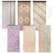 BEADED DOOR CURTAIN Wooden Bamboo String Curtains Beads Fly Bug Screen Divider